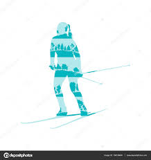 woman cross country skiing vector background abstract concept ma