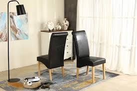 Faux Leather Dinning Chairs Premium Dining Chairs Faux Leather Roll Top Scroll High Back Wood
