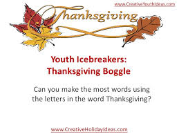 youth icebreakers thanksgiving boggle