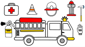 how to draw fire truck and firefighter coloring pages drawing and
