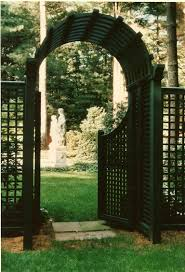 trellis arbor framing pool garden