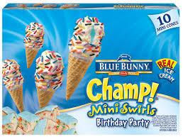 blue bunny champ b day party cones ice cream scream