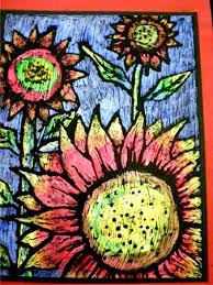 scratch art oil pastel sunflowers reminds me of a tempera paint
