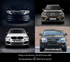 acura vs bmw comparison the 2016 acura mdx vs audi q7 bmw x5 and mercedes
