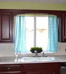 decorations soft turquoise curtains on the small white kitchen