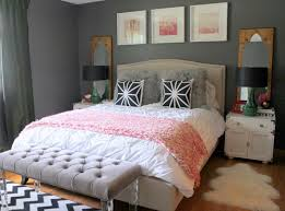dark grey wall color scheme and pink white bedding sets in