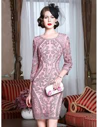 pink dress for wedding pink embroidery wedding guest dress 3 4 sleeves dress