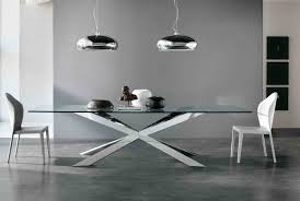 Bases For Glass Dining Room Tables Sleek Stainless Steel Dining Tables Dining Room With White Wall