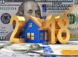 new year dollar bill golden 2018 new year and blue house on background of a dollar