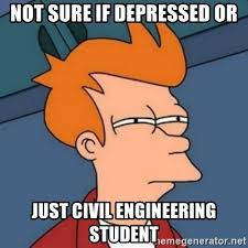 Civil Engineering Meme - not sure if depressed or just civil engineering student not sure