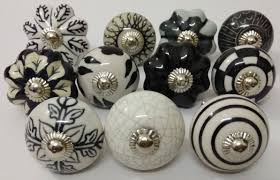 mixed black color design ceramic door knobs handpainted ceramic