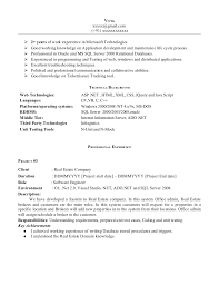 Sample Of Work Experience In Resume by Net Experience Resume Sample