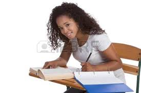 Picture Of Student Sitting At Desk High Or College Ethnic African American Female Student
