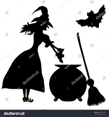 halloween banner witch enda sweeper vector stock vector 216377392