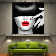 home decor prints red lips face modern canvas home fine wall art prints black white