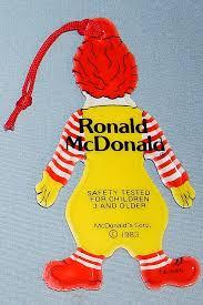 1983 ronald mcdonald flat vinyl tree ornament