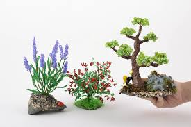 madeheart u003e set of handmade beaded wire bonsai tree bush and