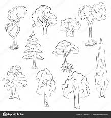 hand drawn set of trees doodle drawings of fir cypress birch