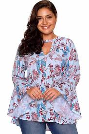 plus size blouse light blue choker v neck floral print flare sleeve plus size