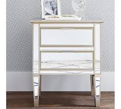 Nightstands With Mirrored Drawers Park Mirrored 2 Drawer Bedside Table Pottery Barn