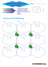 Adding Fractions Worksheets Addition U0026 Subtraction Fraction Poster Cards U0026 Worksheets