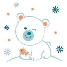 sticker pour chambre bébé sticker mural ours polaire motif bébé garçon pour chambre bébé