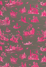 175481 coromandel fuchsia grey by fschumacher fabric