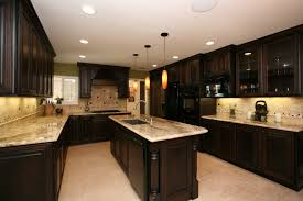 kitchen backsplash ideas with dark cabinet and ceramic floor