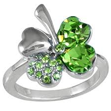 swarovski rings green images Four leaf clover heart shaped swarovski elements jpg