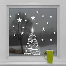 Christmas Window Decorations by Star Tree With Stars Window Cling Stickers Seasonal Christmas