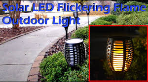 Tiki Solar Lights by Solar Led Flickering Flame Outdoor Light Youtube