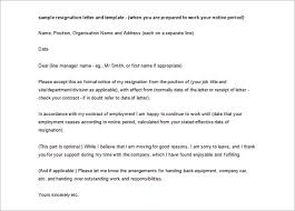 ideas of resignation letter one month notice doc for sample