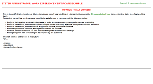 system administrator work experience certificate