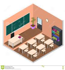 interior classroom with furniture isometric view vector stock