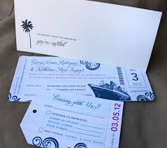 blue swirl with fuchsia accents cruise boarding pass wedding