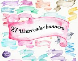 watercolor banners strokes png transparent background rainbow