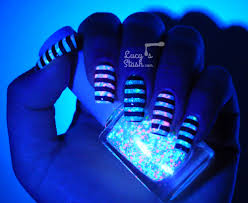stripes stamping neon glitter uv glowing all of it