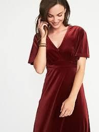 fit u0026 flare velvet midi dress for women old navy