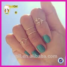 midi ring set big sale midi ring set in gold finger rings with heart