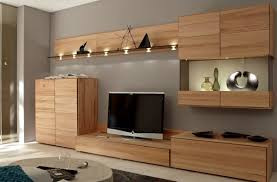 perfect modern living room with lacquered red oak credenza tv and