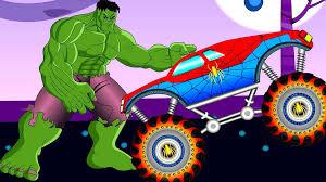 toy monster truck videos for kids batman vs spiderman monster trucks for kids the hulk