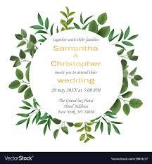 wedding invitations greenery wedding invitation with greenery royalty free vector image
