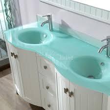 Green Bathroom Vanities Bridgeport 60 Inch White Modern Bathroom Vanity Mint Green Glass Top