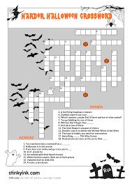 Printable Halloween Crossword by Hellishly Hard Halloween Crossword