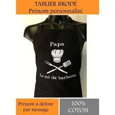 tablier de cuisine personnalisé tablier cuisine barbecue brodé personnalisé prenom a definir noir