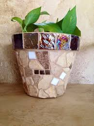 rustic mosaic planter large flower pot indoor herb planter