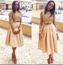 cocktail party attire two pieces short prom dresses lace long sleeve african formal