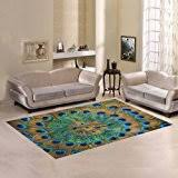 Peacock Blue Area Rug Amazon Com Safavieh Water Color Collection Wtc672b Ivory And