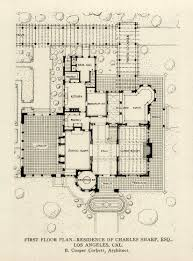 john b murray architect recent work floor plans and elevations the first floor plan of the charles sharp esq residence los angeles