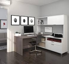 modern premium l shaped desk with hutch in bark gray u0026 white